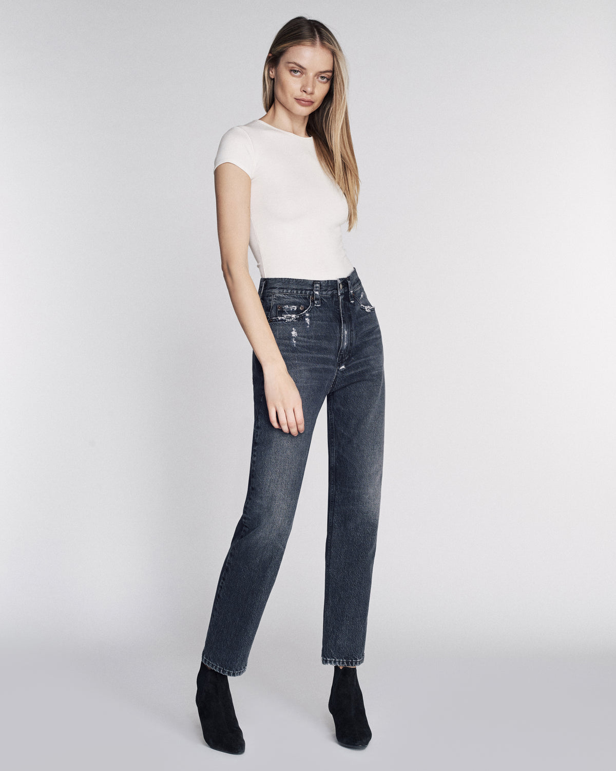 Grant Denim Pant in Faded Black Stone Wash
