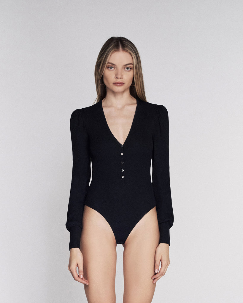 V Neck Ribbed Bodysuit in Black