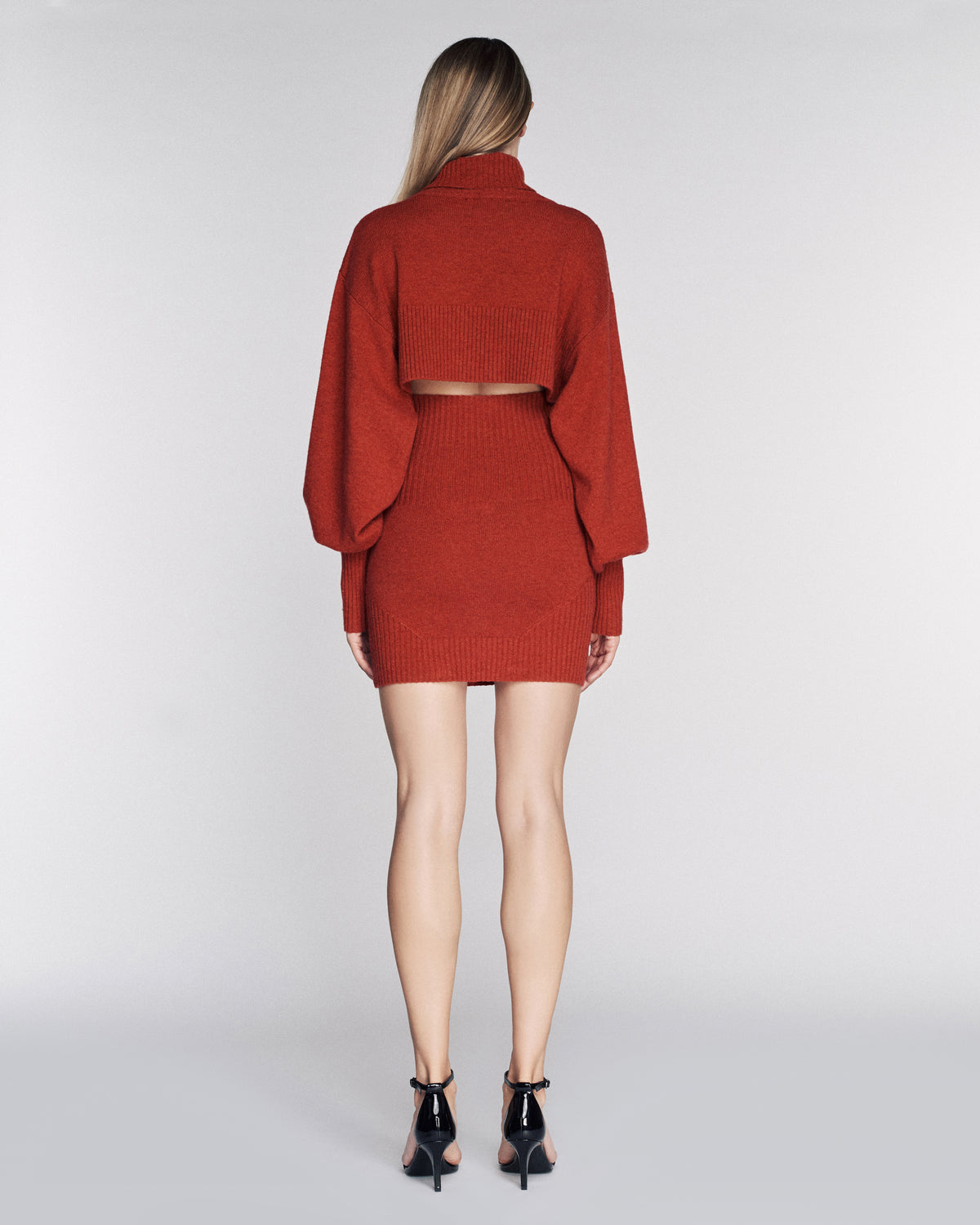 Sloane Cashmere Blend Turtleneck Sweater in Paprika