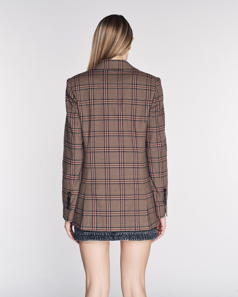 Olson Plaid Blazer in Walnut Brown Combo