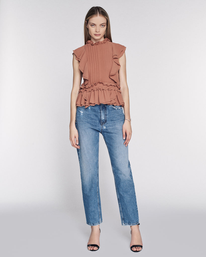 Florence Crepe Top in Clay