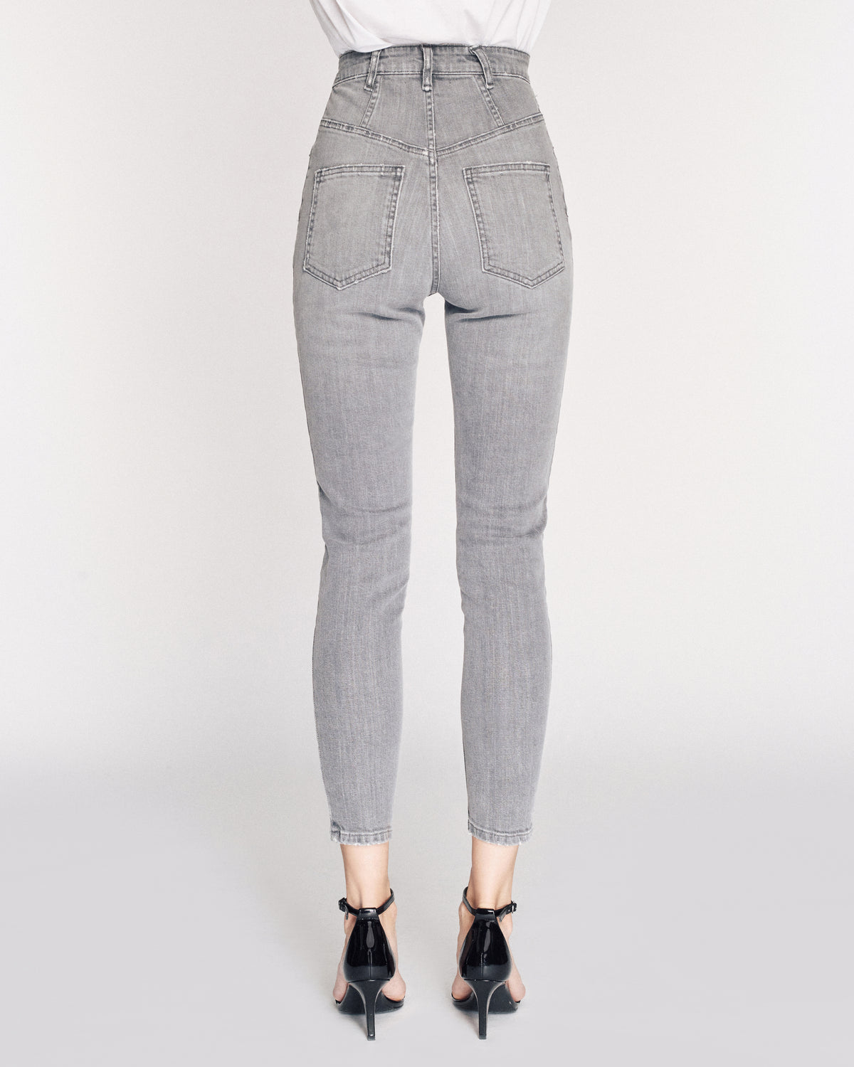 Emma Denim Pant in Grey Stone Wash