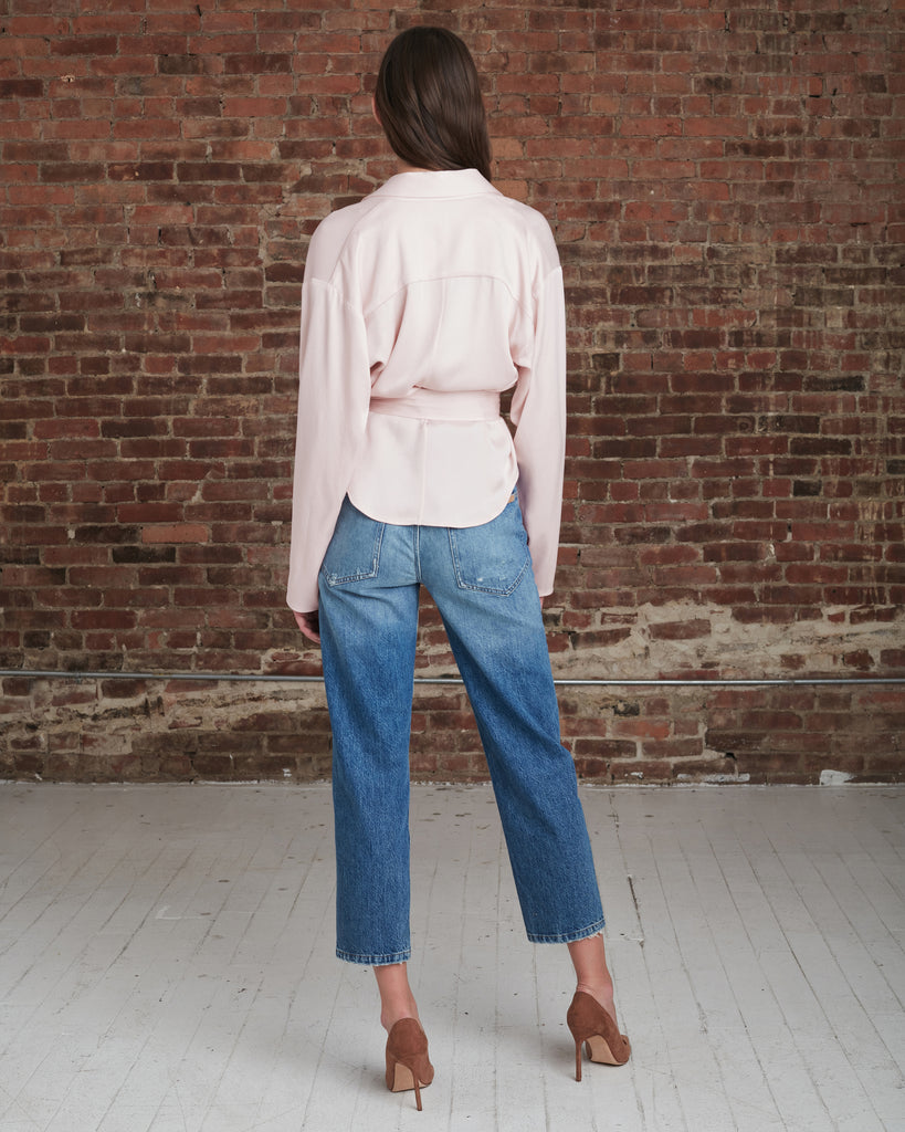 Riley Satin Crepe Wrap Blouse_Blush_Back