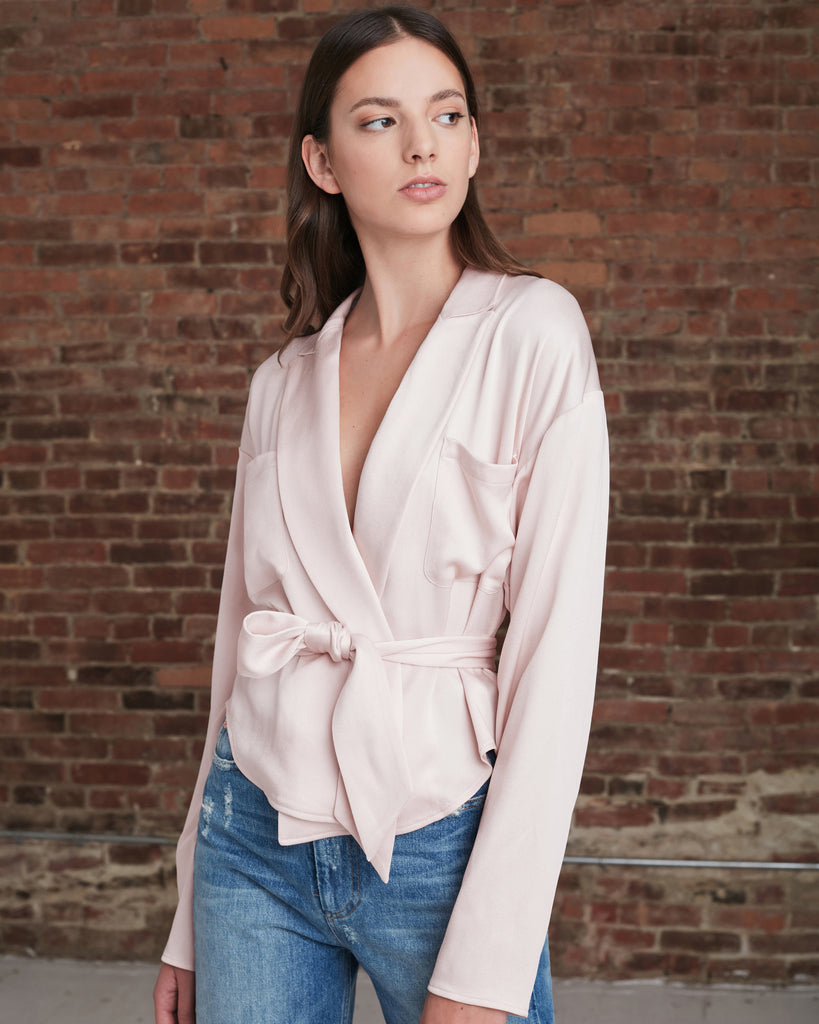 Riley Satin Crepe Wrap Blouse_Blush_Front 1