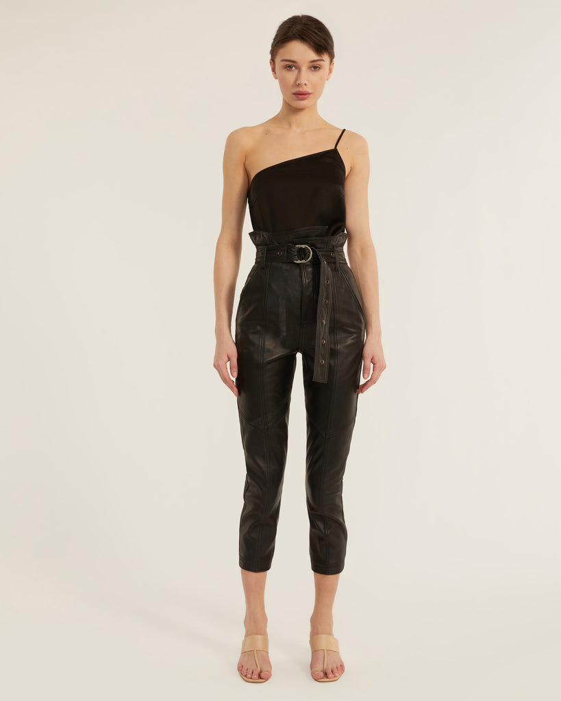 Anniston Leather Pant in Black