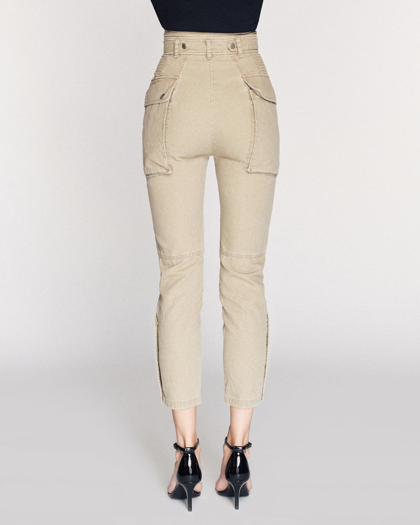 Belle Canvas Pant in Khaki