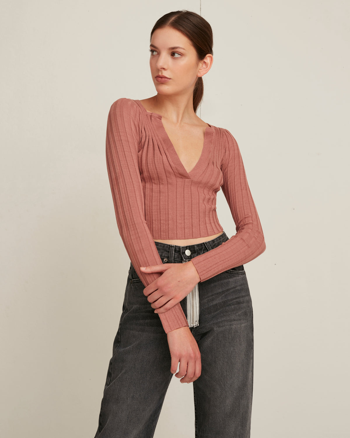 Brantley Cropped Henley Rib Pullover in Dark Coral