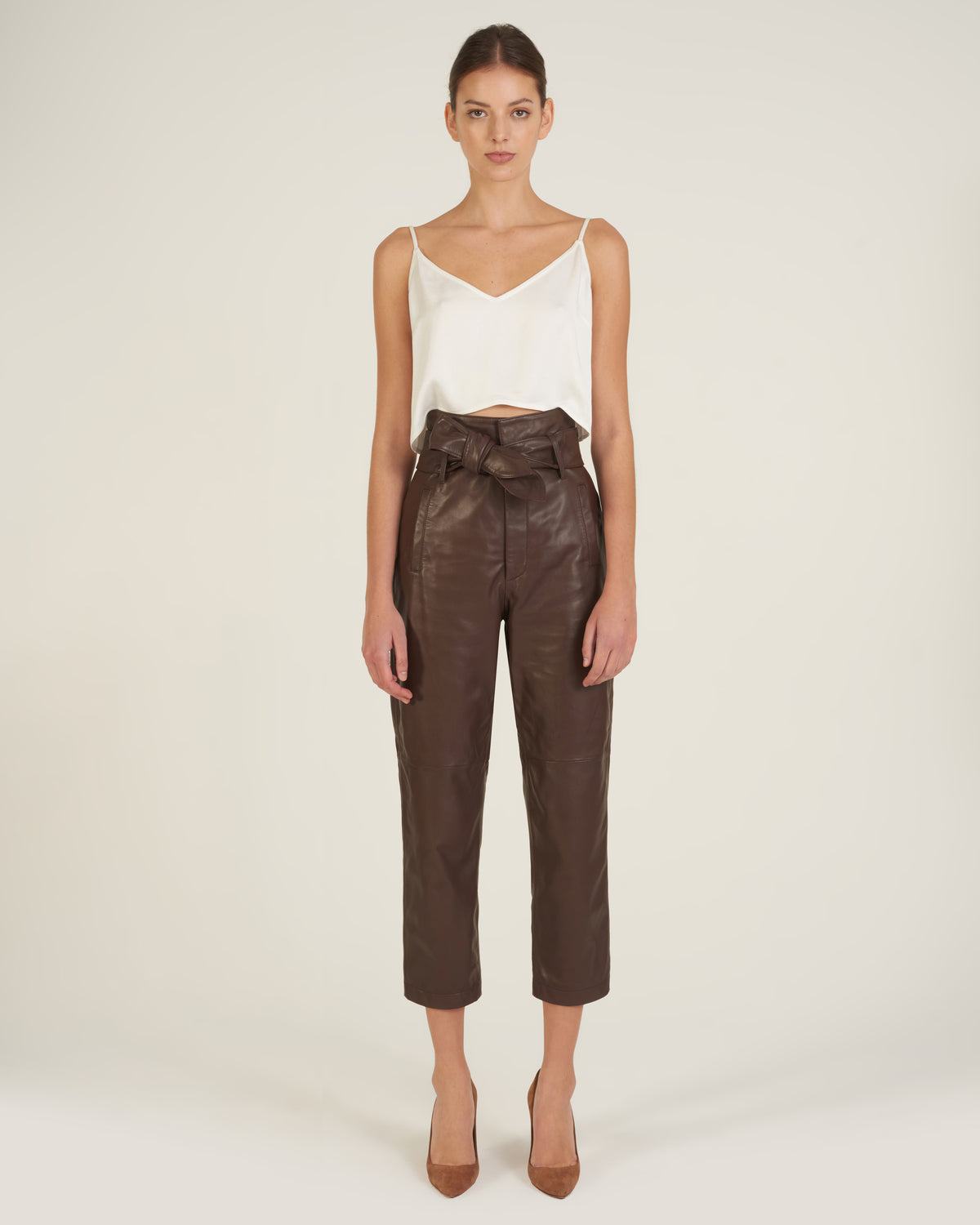 Brennan Leather Pant in Chesnut