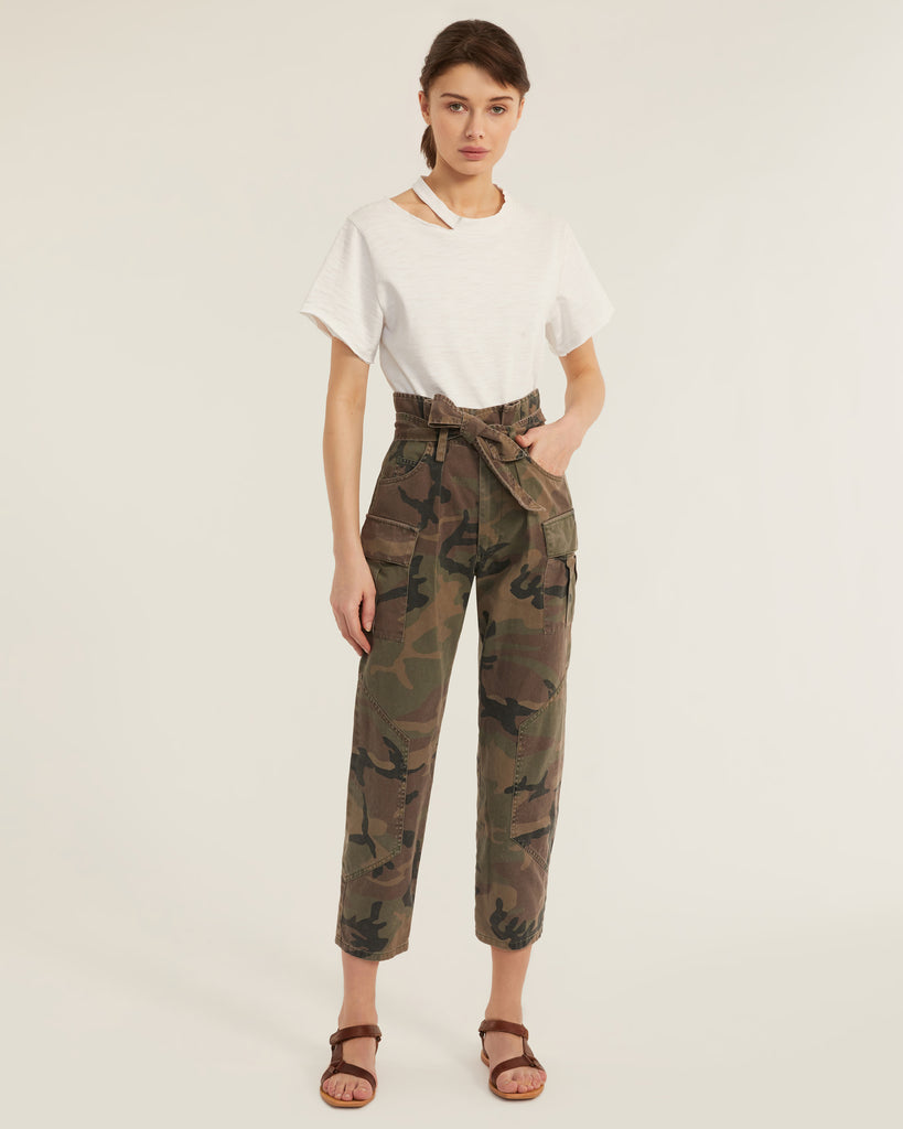 Bryn Paper Bag Vintage Washed Camo Pant in Woodland Camo