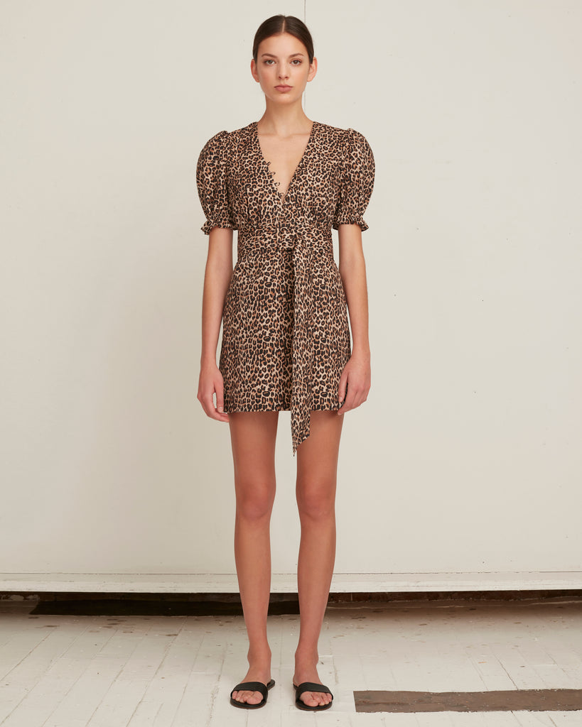Carly Lightweight Canvas Leopard Print Dress