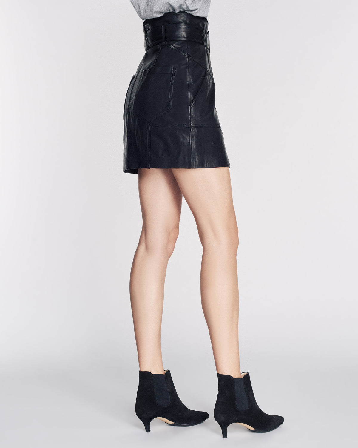 Claire Leather Skirt in Black