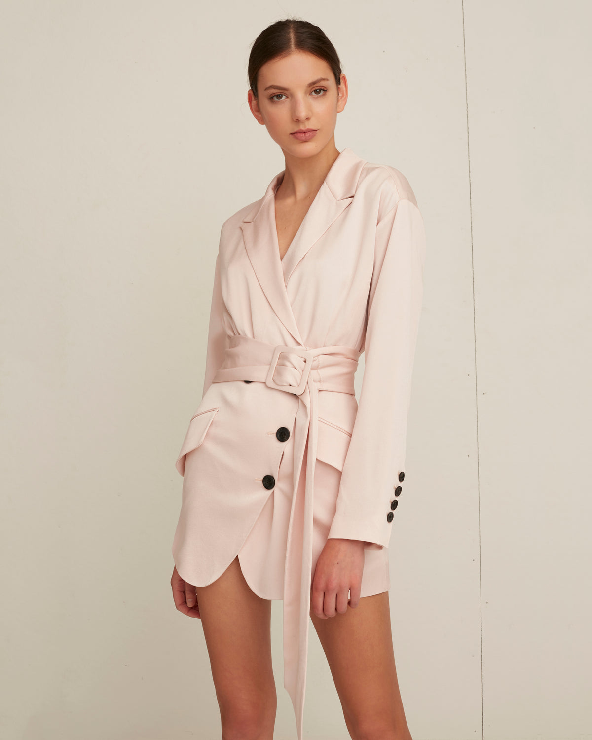 Cyrus Satin Crepe Suit Dress