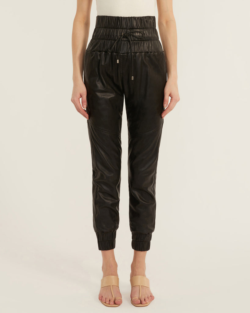 Dalton Leather Jogger in Black