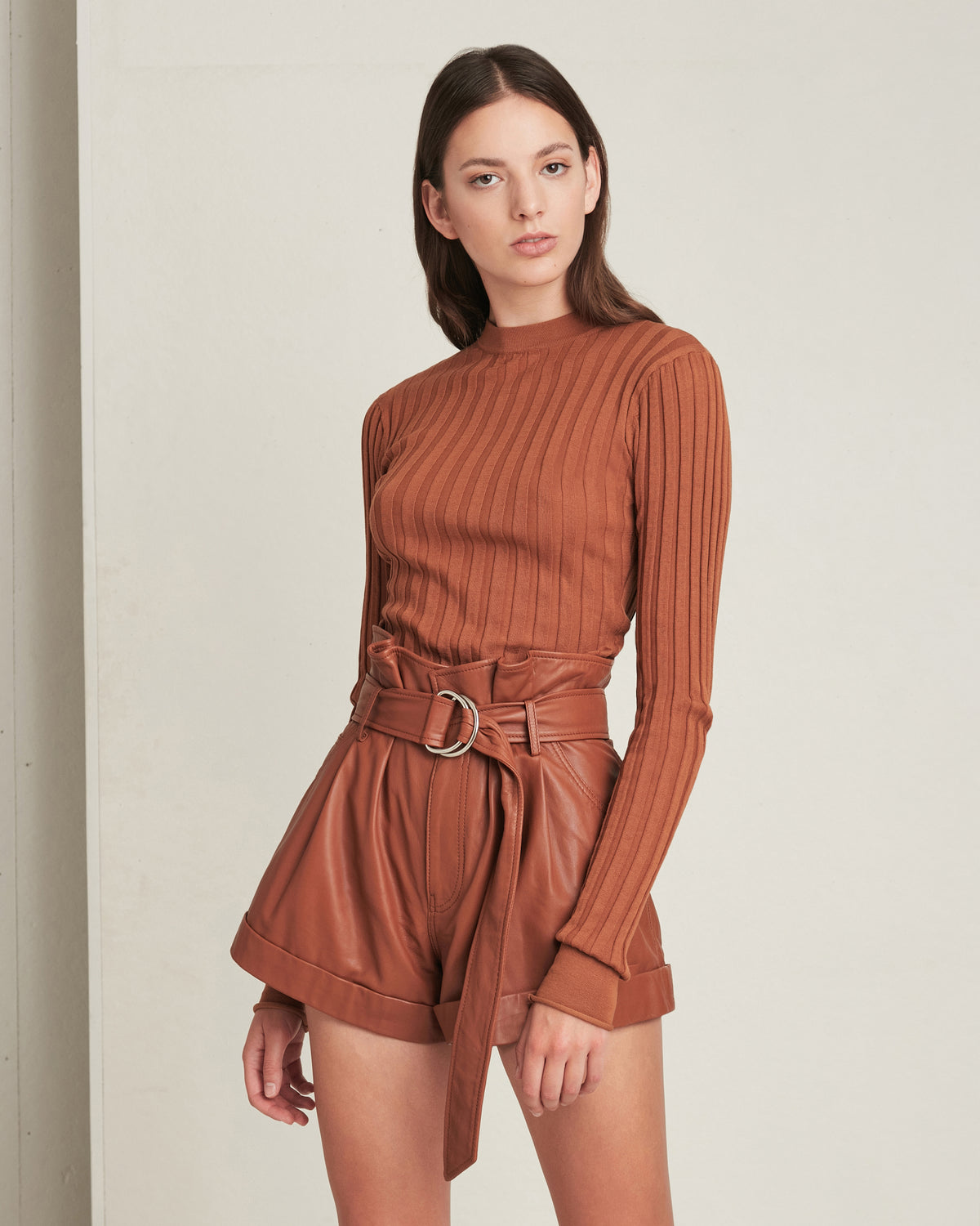Dixon Paper Bag Leather Short in Sienna