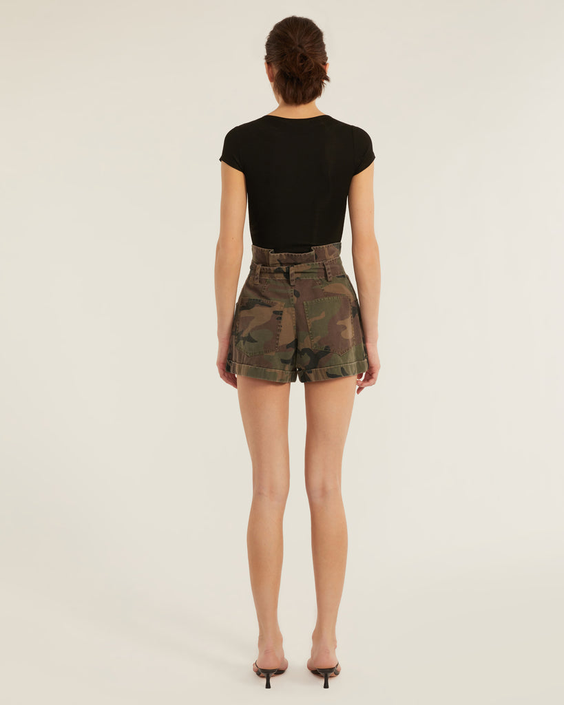 Dixon Paper Bag Vintage Washed Camo Short in Woodland Camo