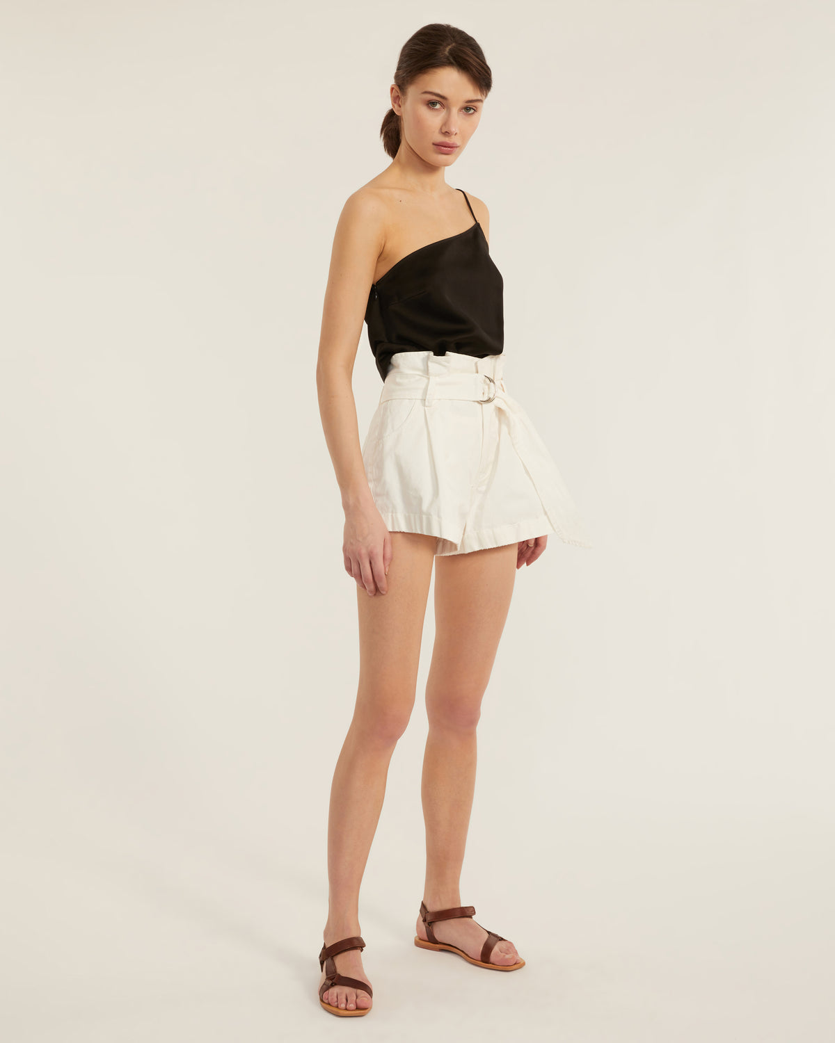 Dixon Paper Bag Vintage Washed Short in Soft White