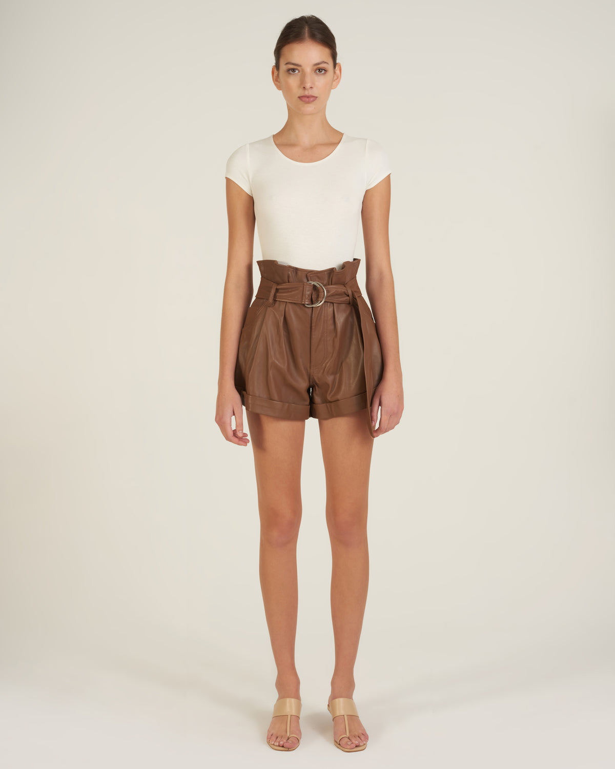 Dixon Paper Bag Leather Short in Cognac