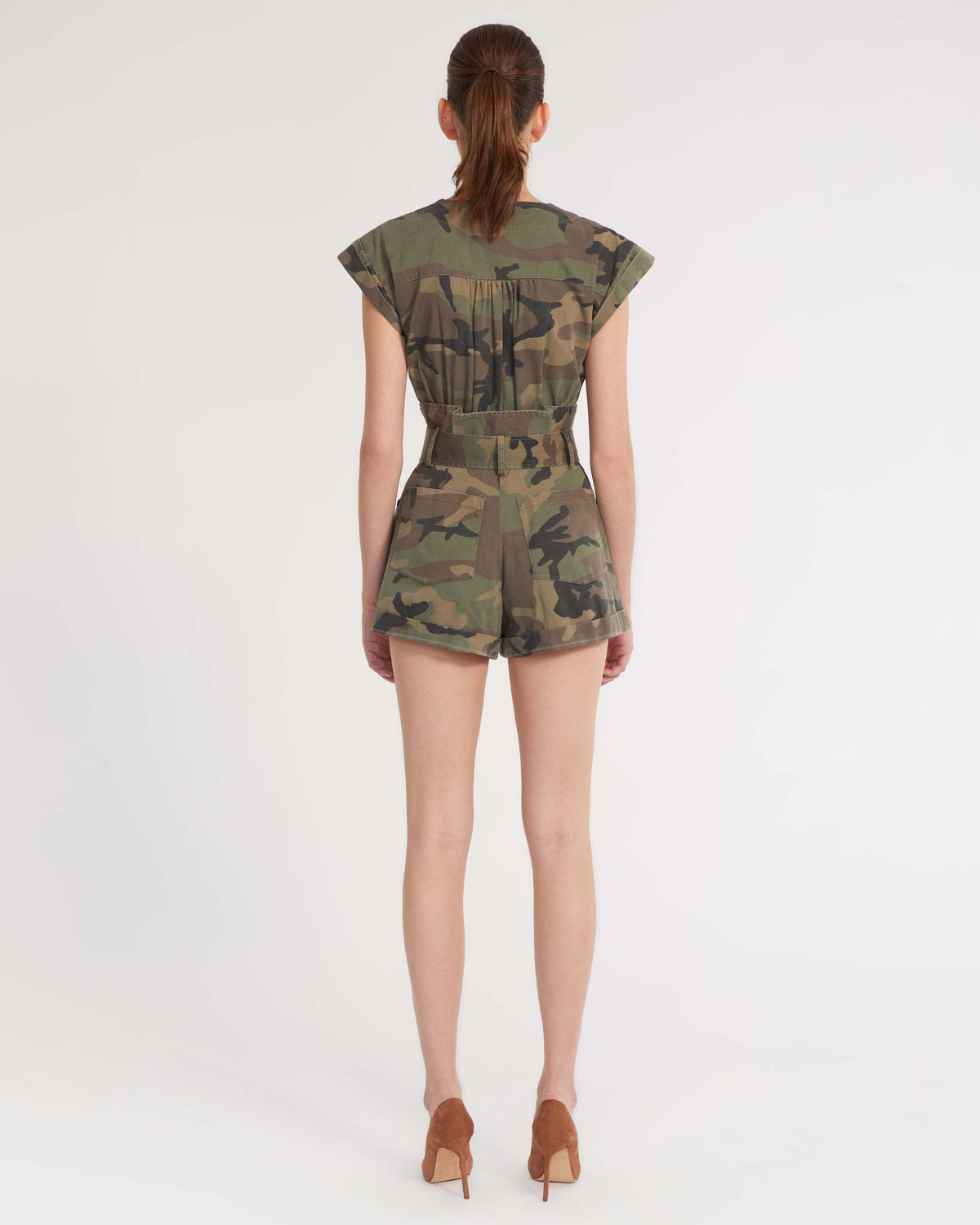 Dixon Paper Bag Vintage Washed Camo Romper in Woodland Camo