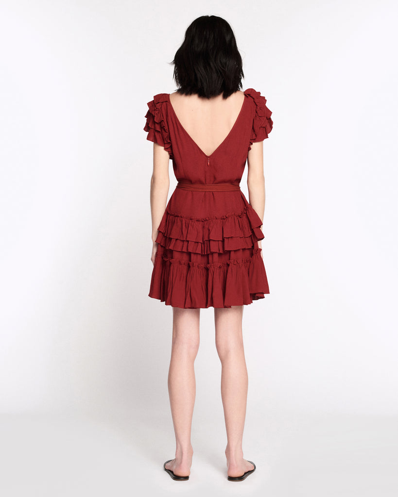 Elio Crepe Mini Dress in Spiced Red