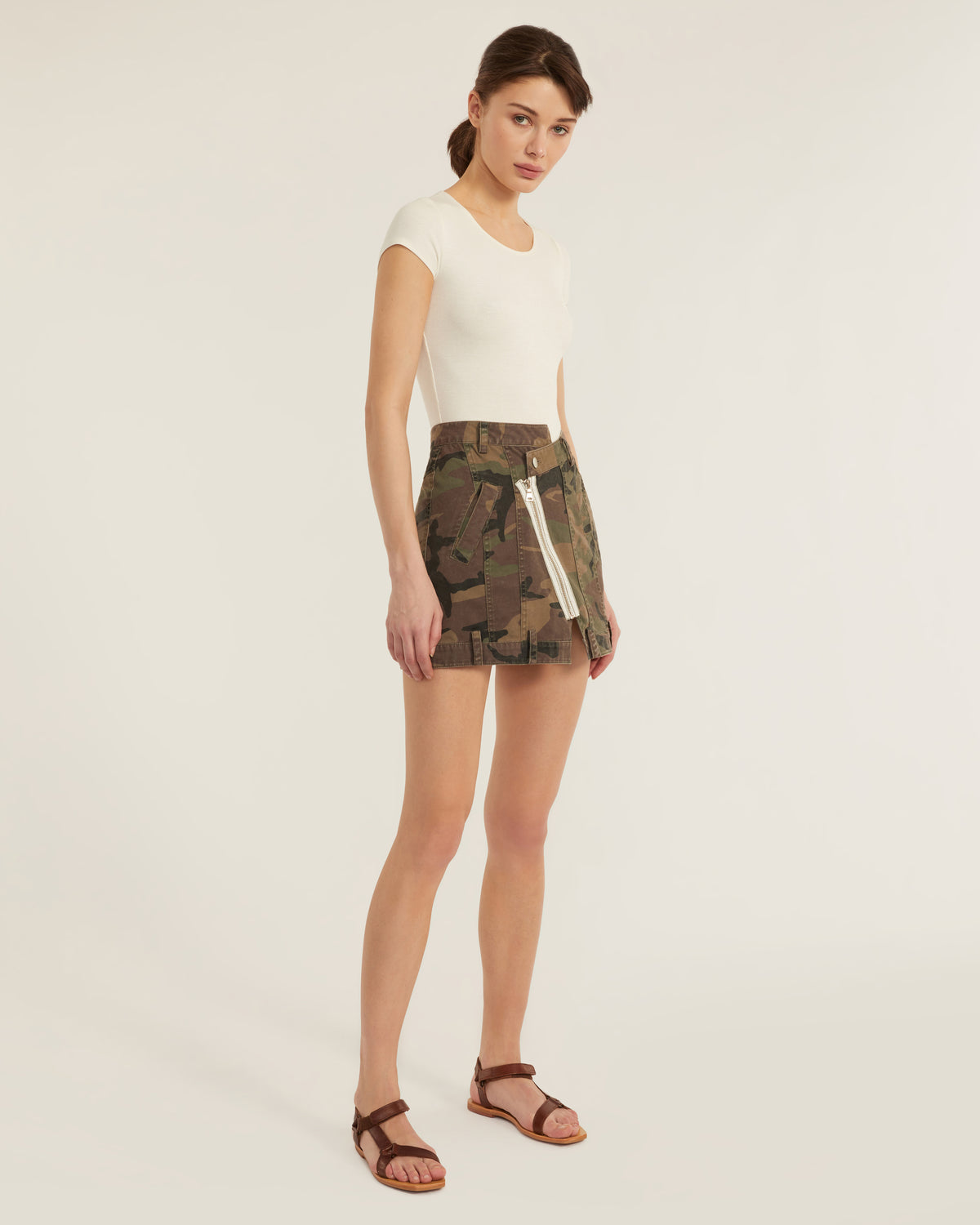 Eliza Canvas Zip Front Camo Skirt in Woodland Camo
