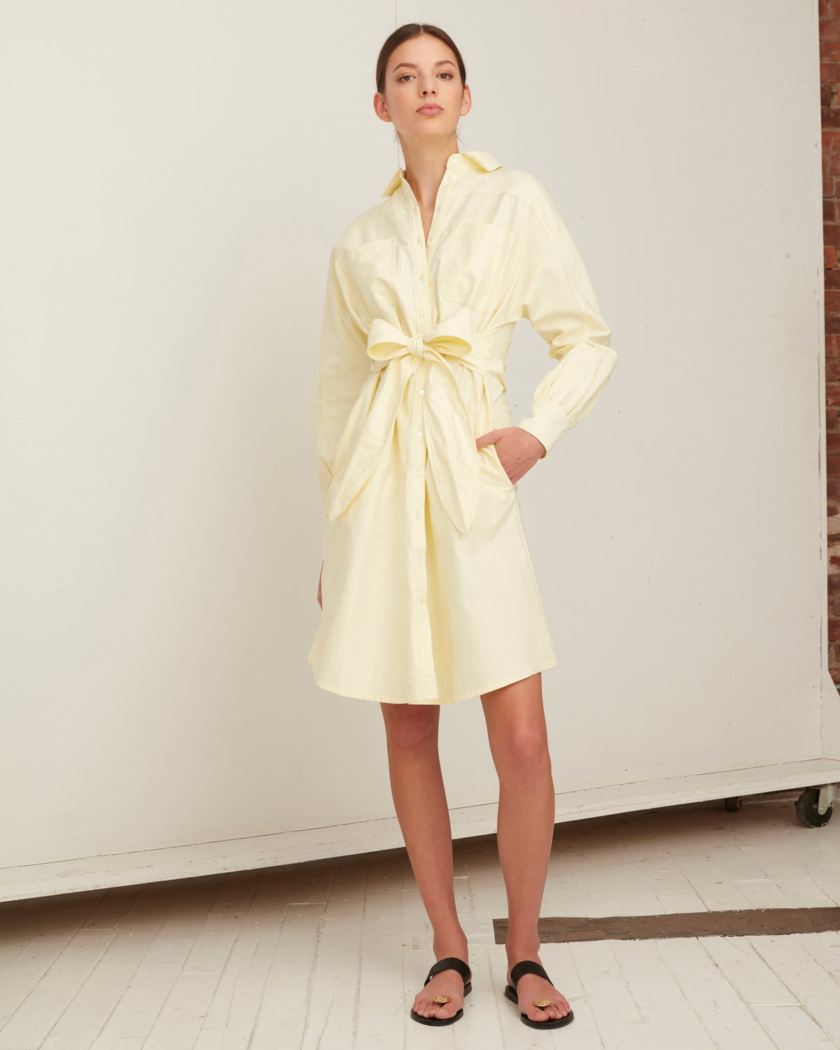 Emmerson Midi Shirt Dress in Canary