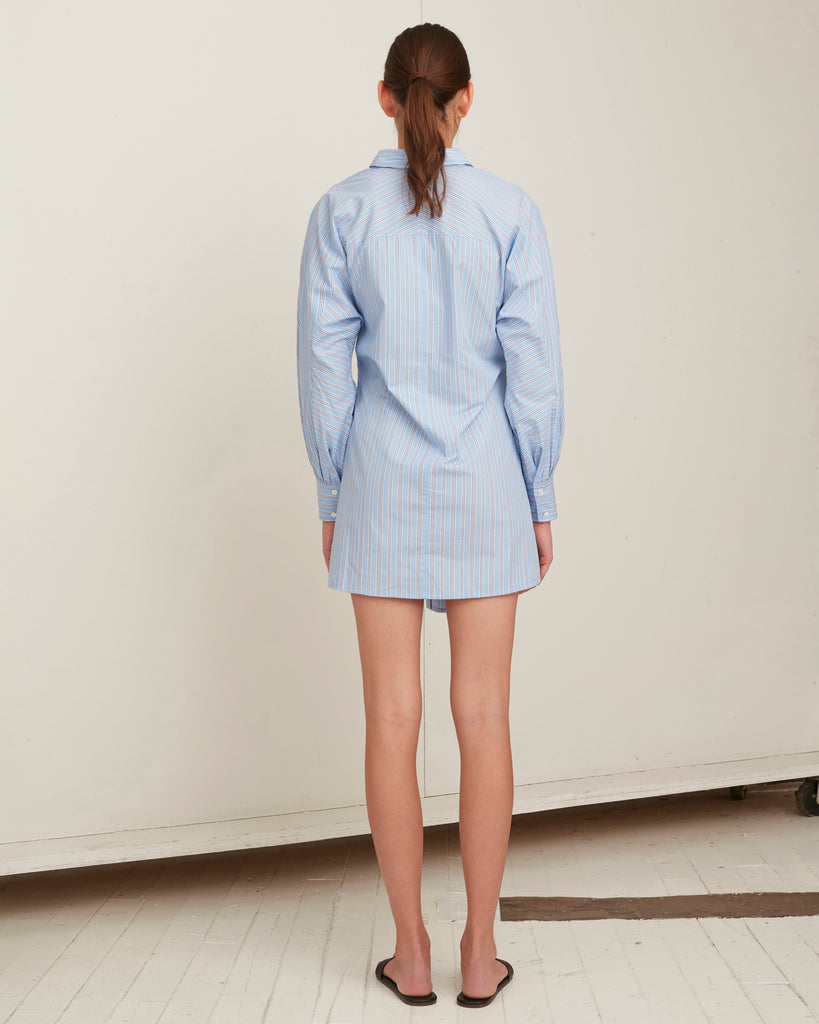 Emmerson Striped Mini Shirt Dress in French Blue and Dark Blue Stripes
