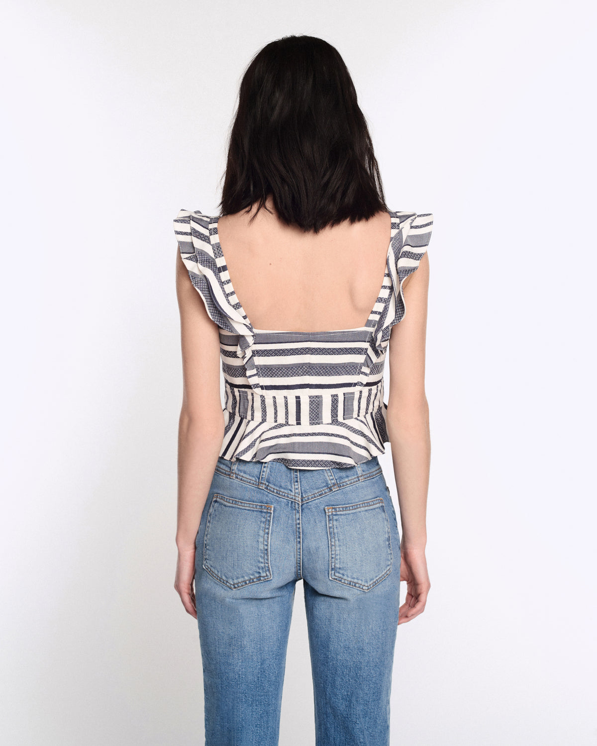 Ezra Top in Ivory with Navy Stripes