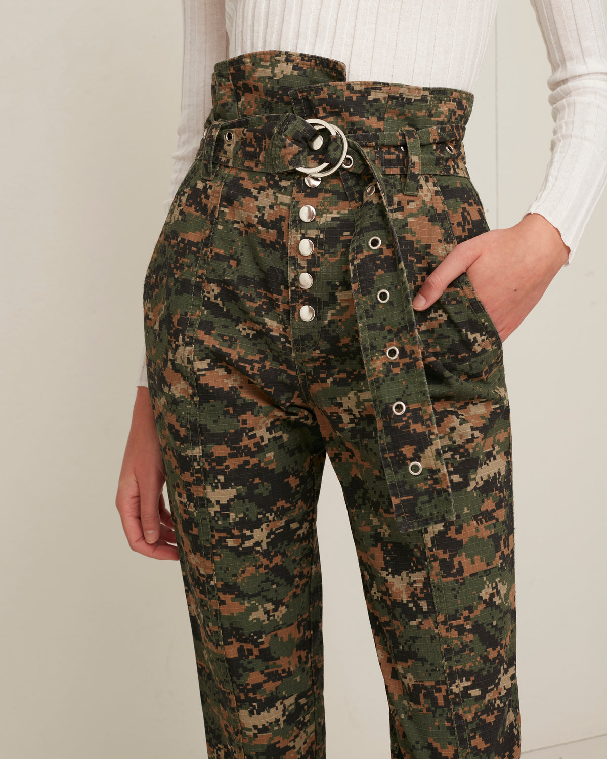 Gia Canvas Army Digital Camo Print Pant