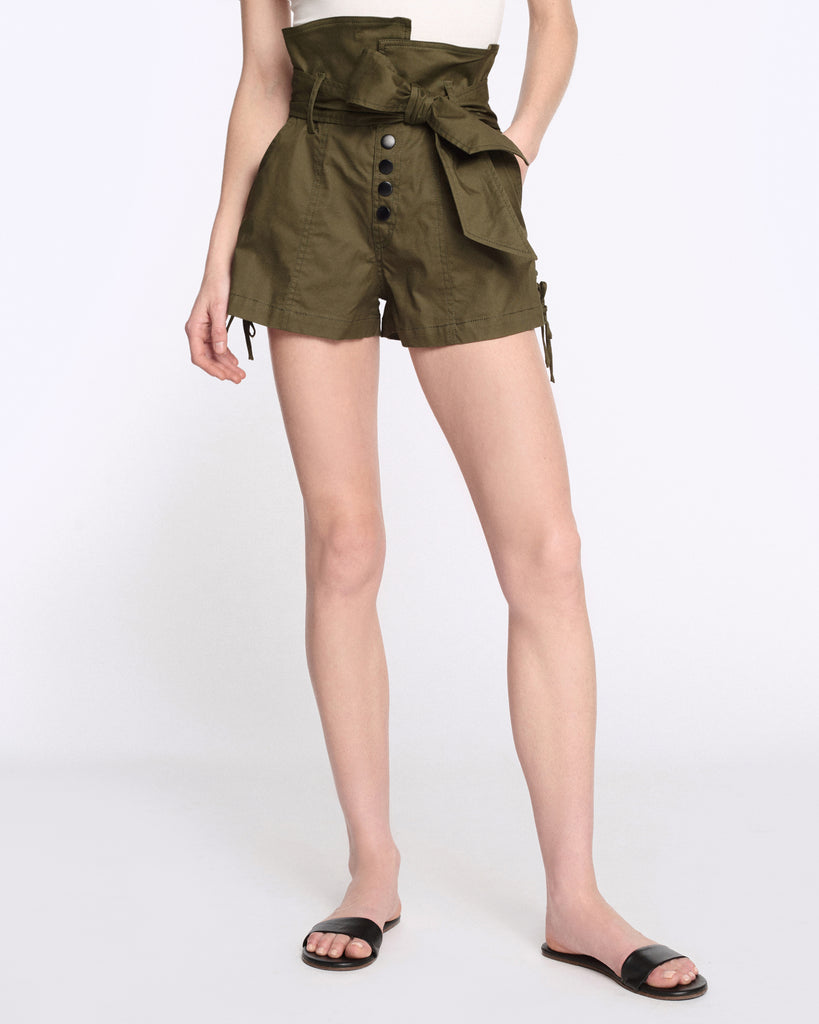 Gia Canvas Shorts in Forest