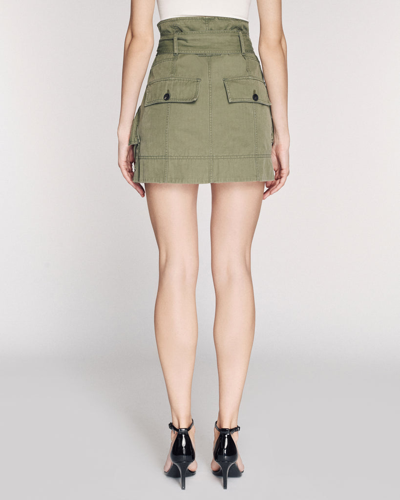 Hannah Herringbone Canvas Skirt in Military Green