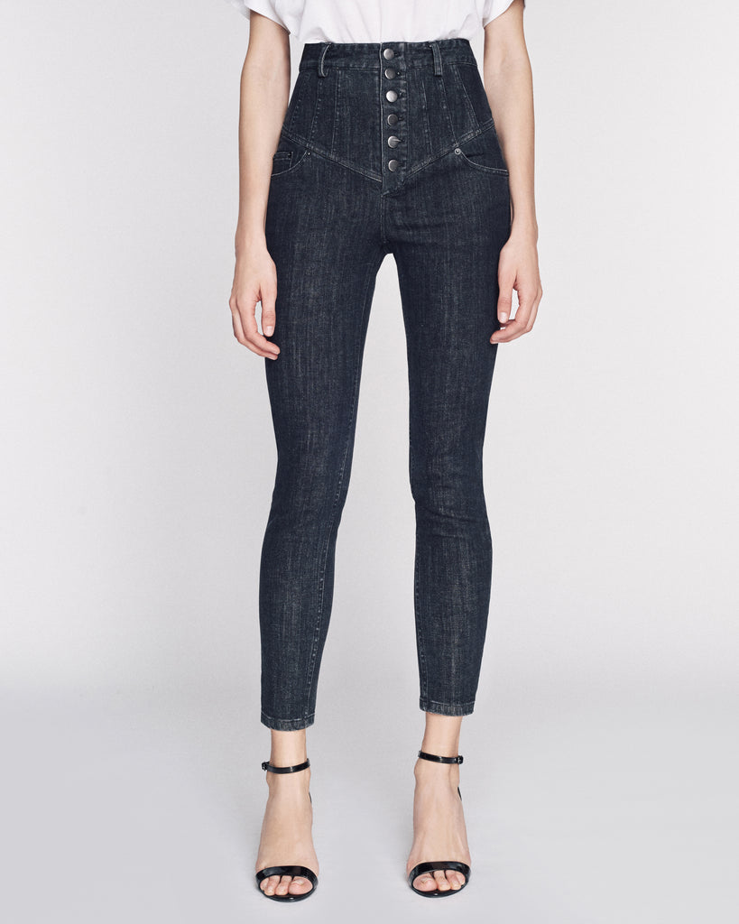Hartly Corset Jean in Black Rinse Wash