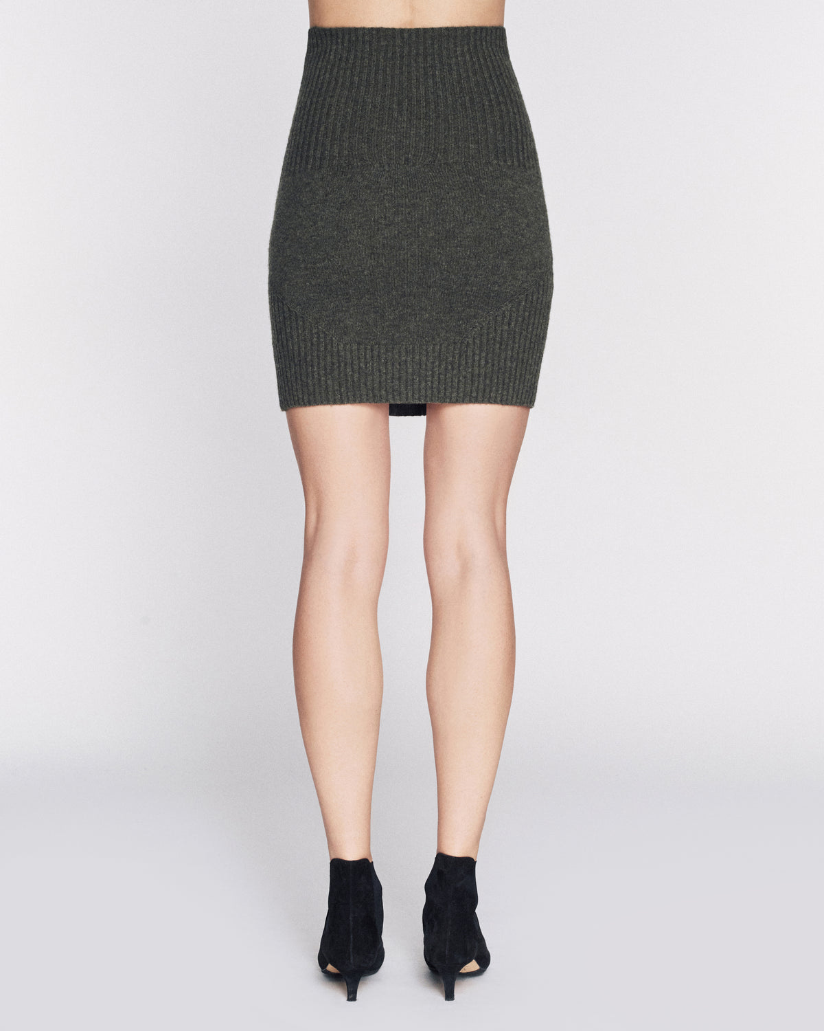 Jesse Cashmere Blend Stretch Mini Skirt in Olive