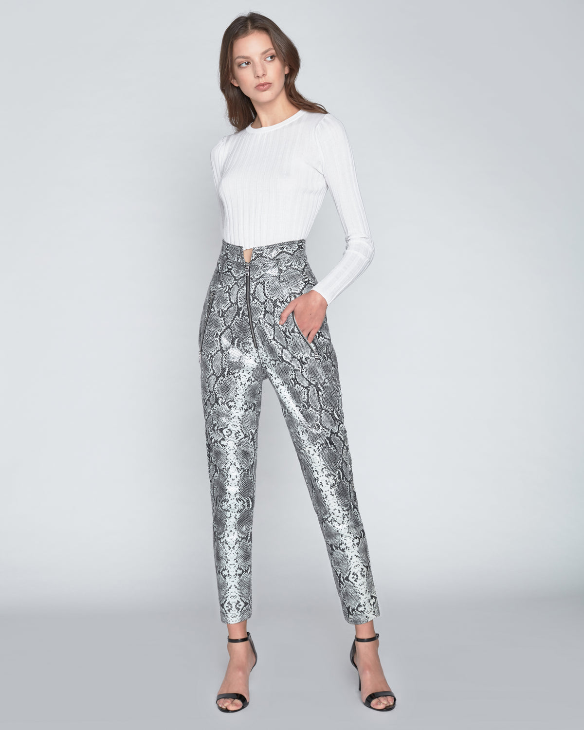 Josh Leather Grey Python Print Pant