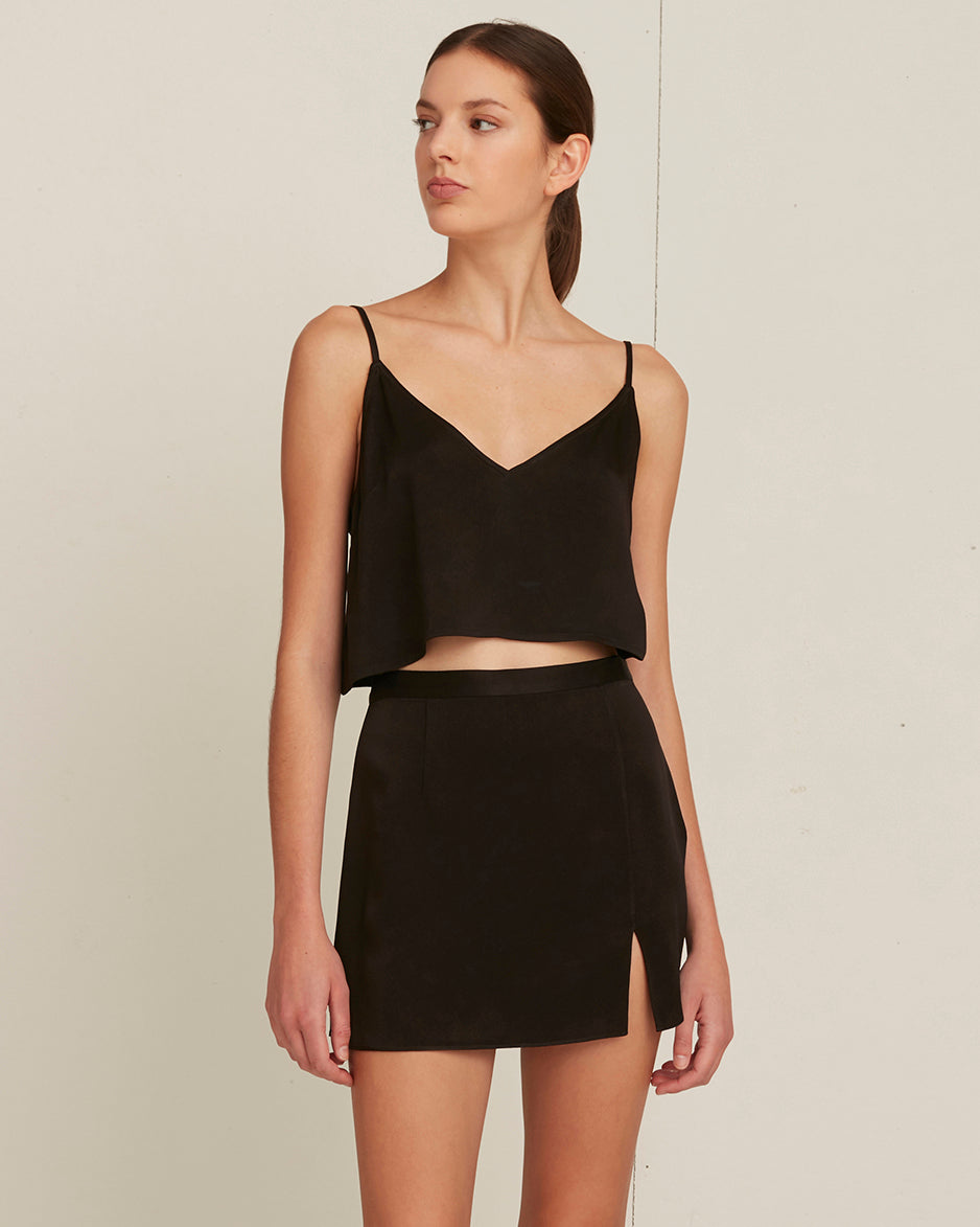 Kami Satin Crepe Slip Skirt in Black