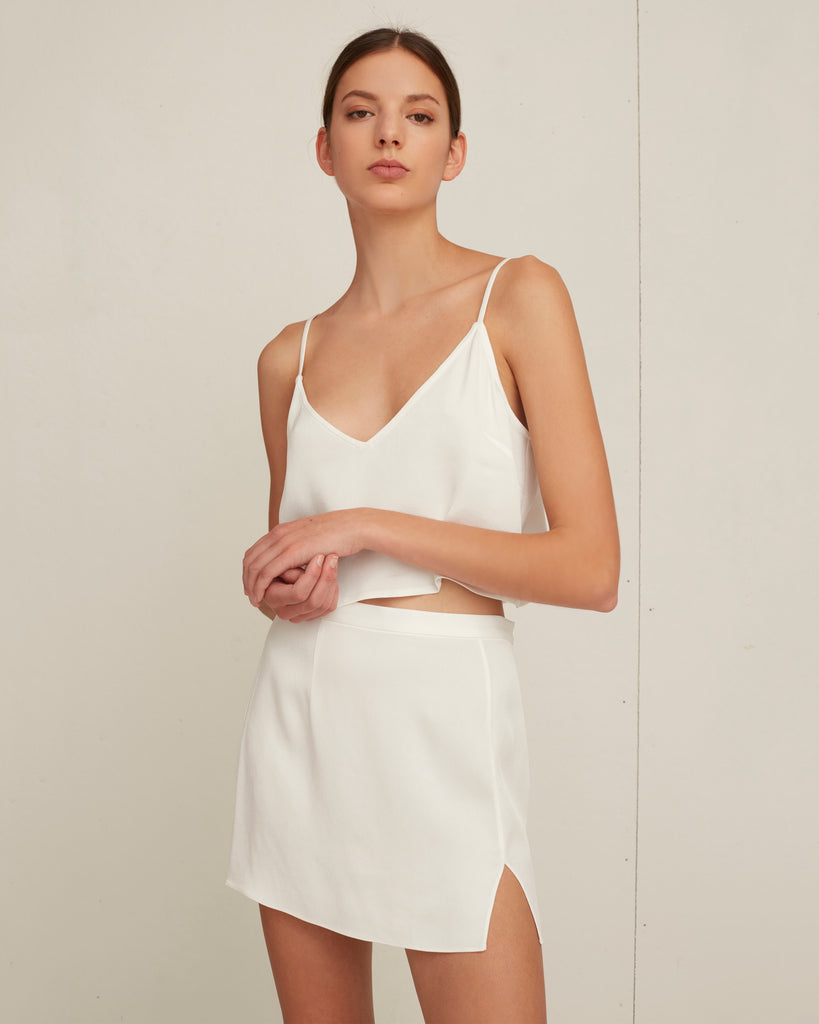 Kami Satin Crepe Slip Skirt in Ivory