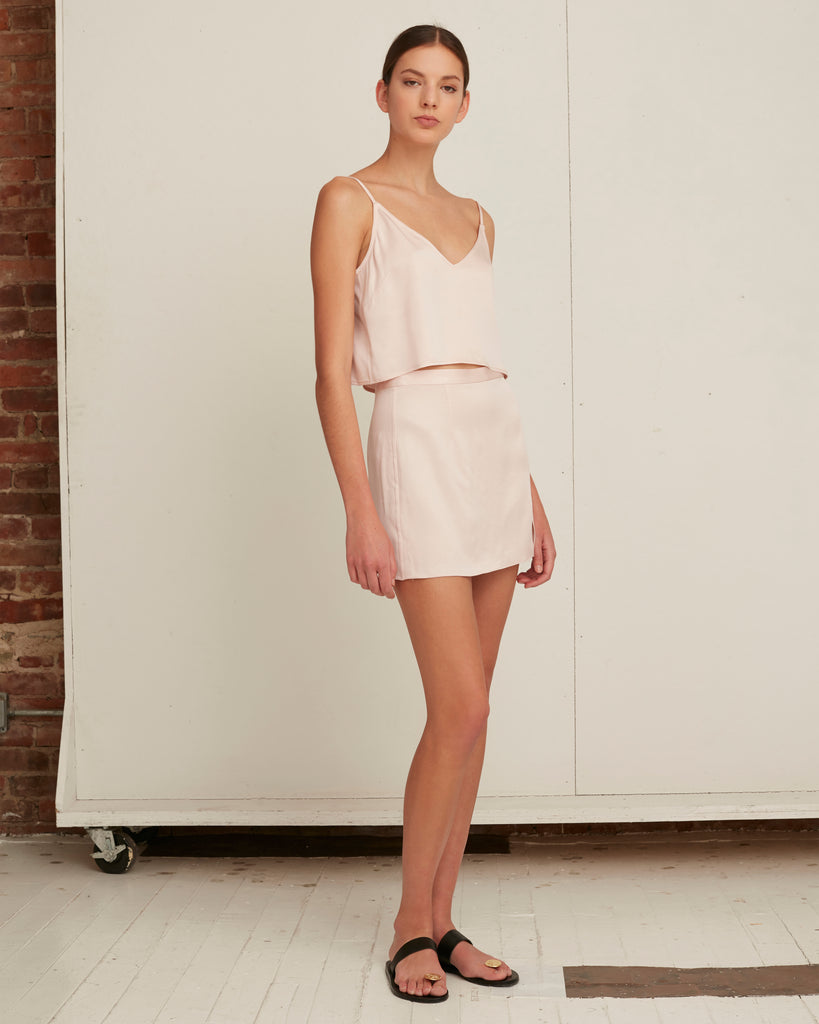 Kami Satin Crepe Slip Skirt in Blush