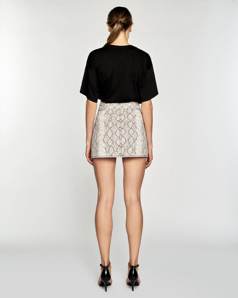 Katrina Python Print Canvas Mini Skirt