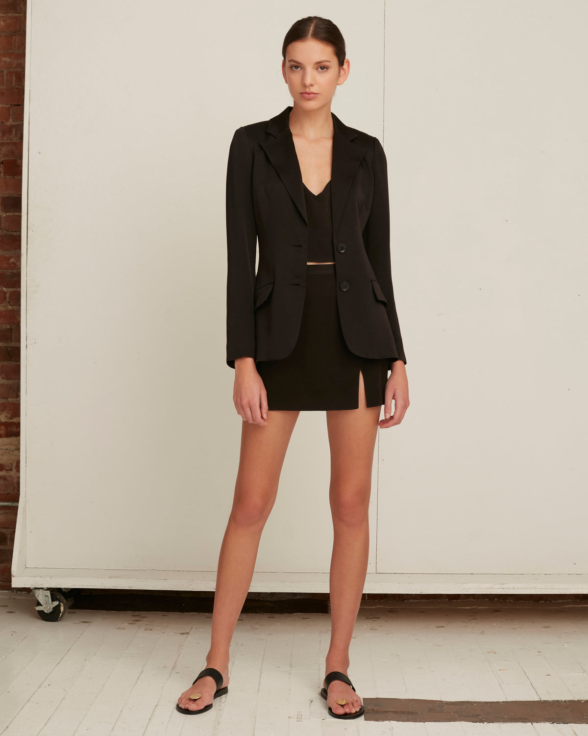 Lois Satin Crepe Blazer in Black