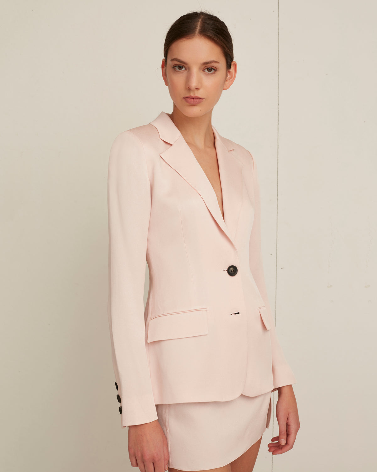 Lois Satin Crepe Blazer in Blush