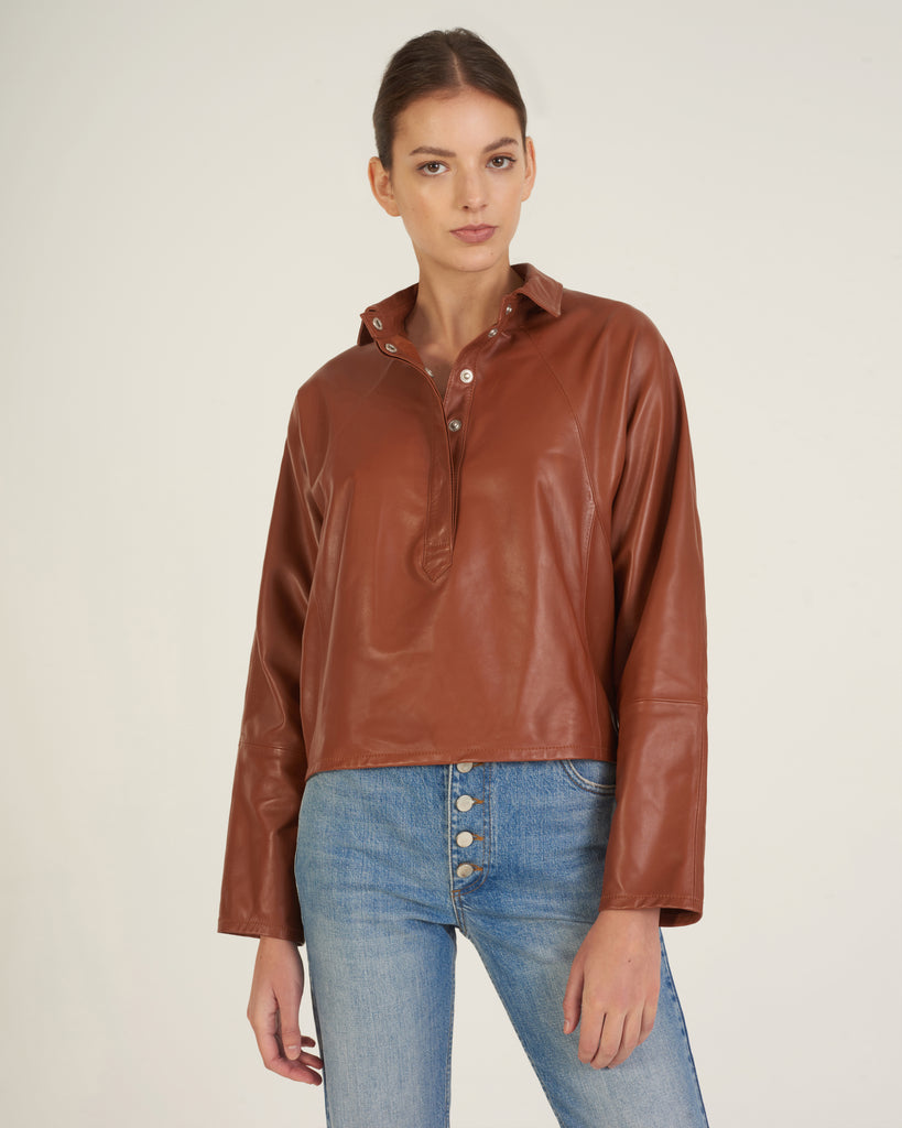 Madi Leather Tunic Top in Sienna