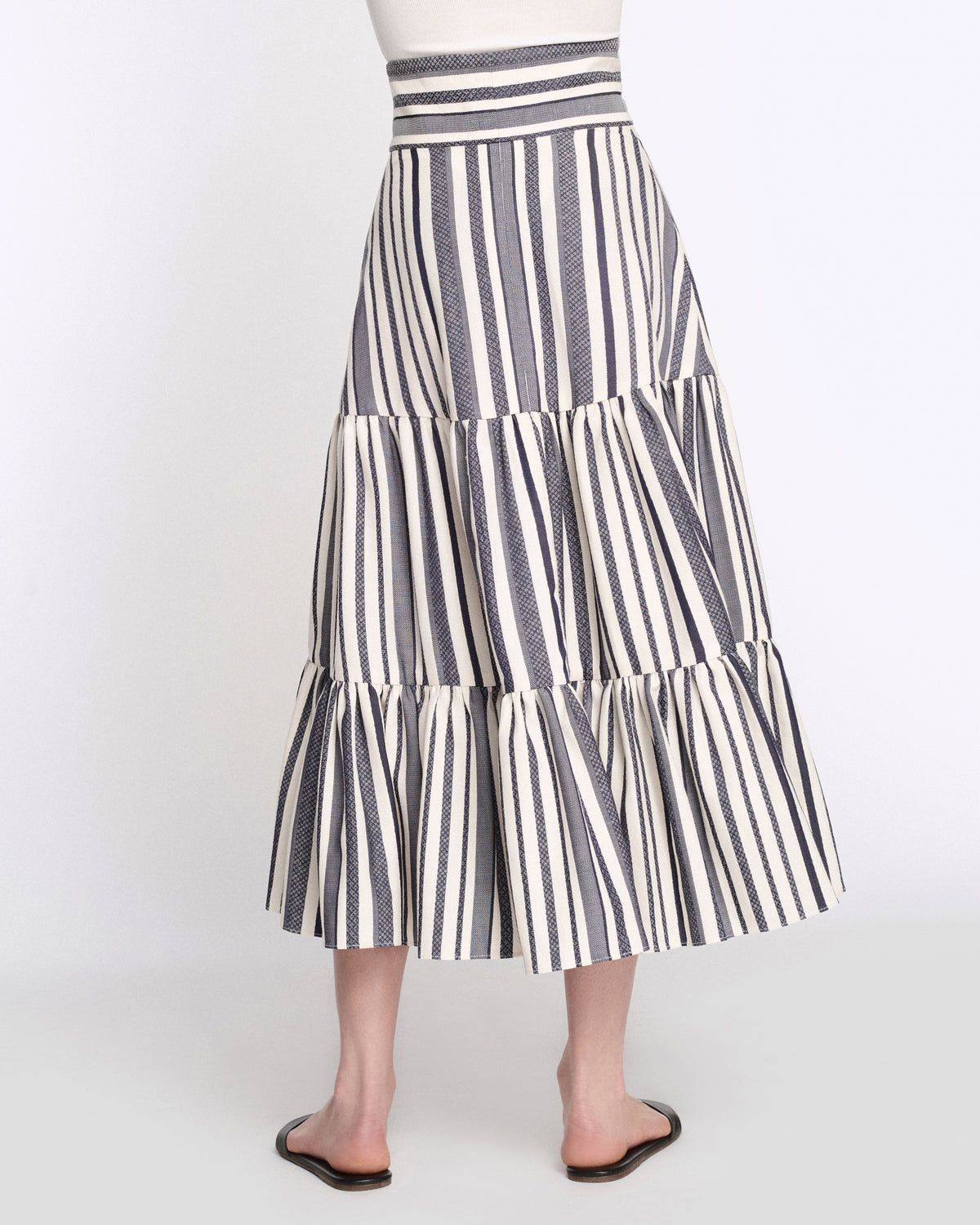 Malika Maxi Skirt in Ivory with Navy Stripes