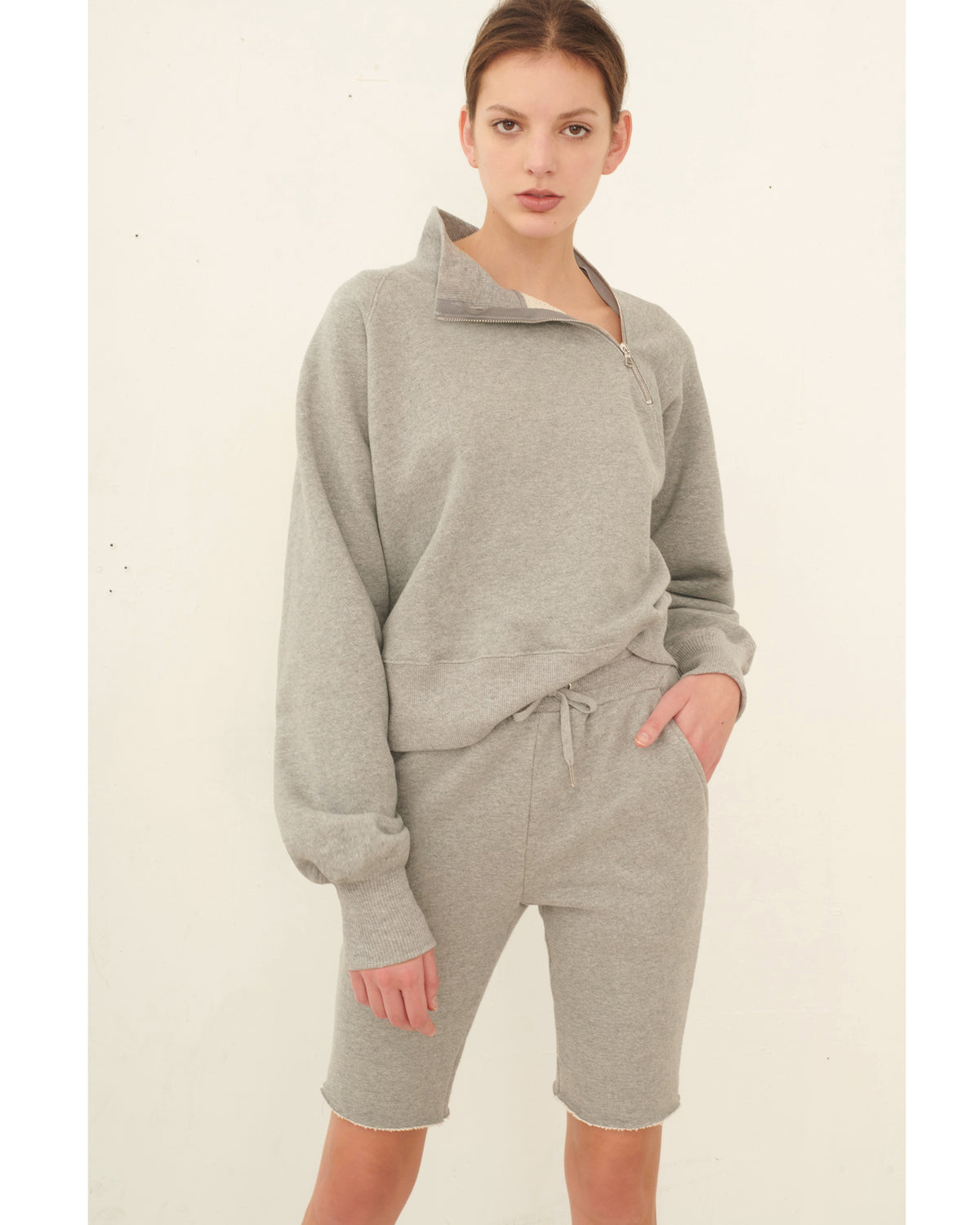 So Uptight Funnel Neck Zip Sweatshirt_Heather Grey_Lookbook