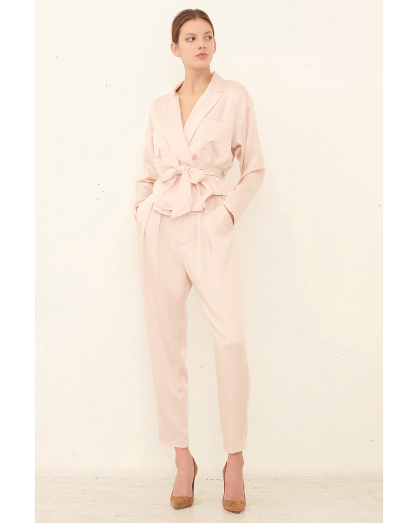 Riley Satin Crepe Wrap Blouse_Blush_Front Lookbook