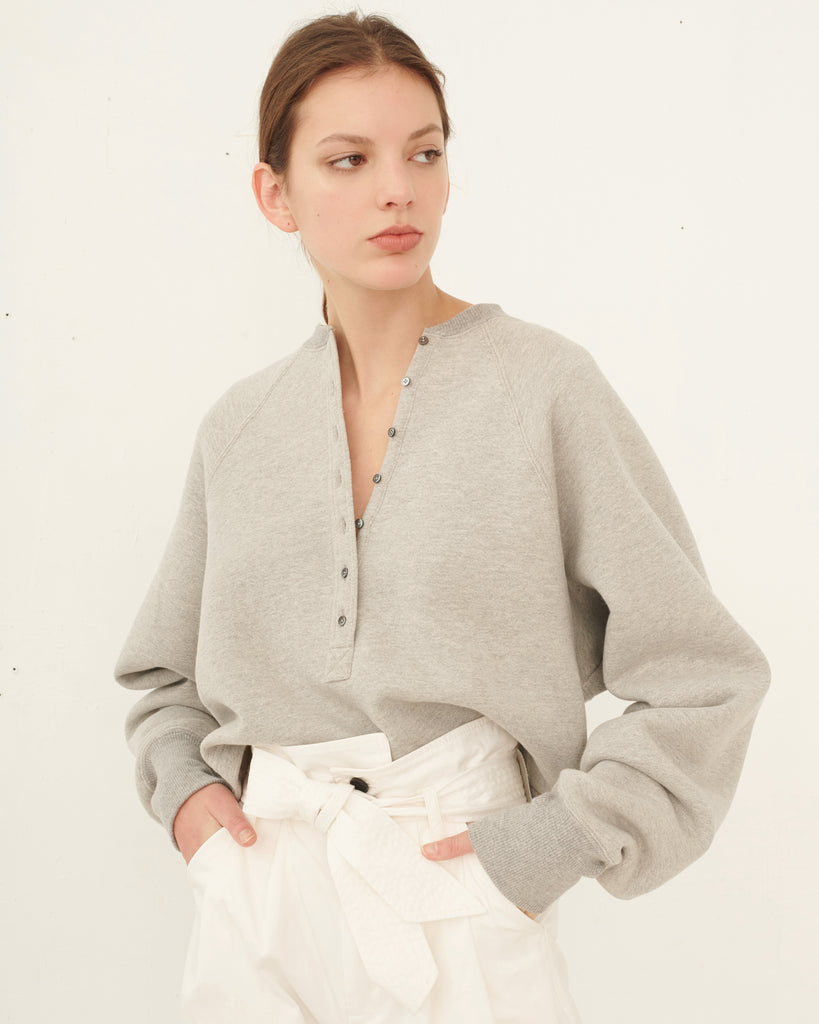 So Uptight Plunge Henley Plush Back Sweatshirt in Heather Grey