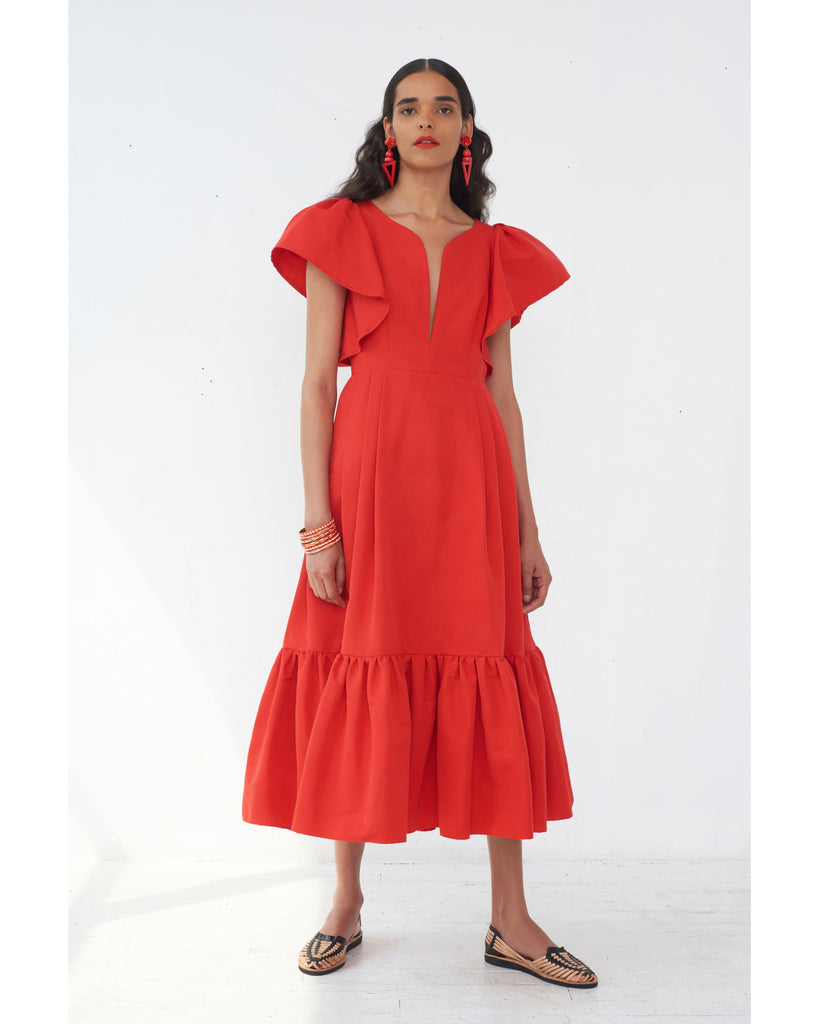 Issa Faille Dress in Cardinal Red