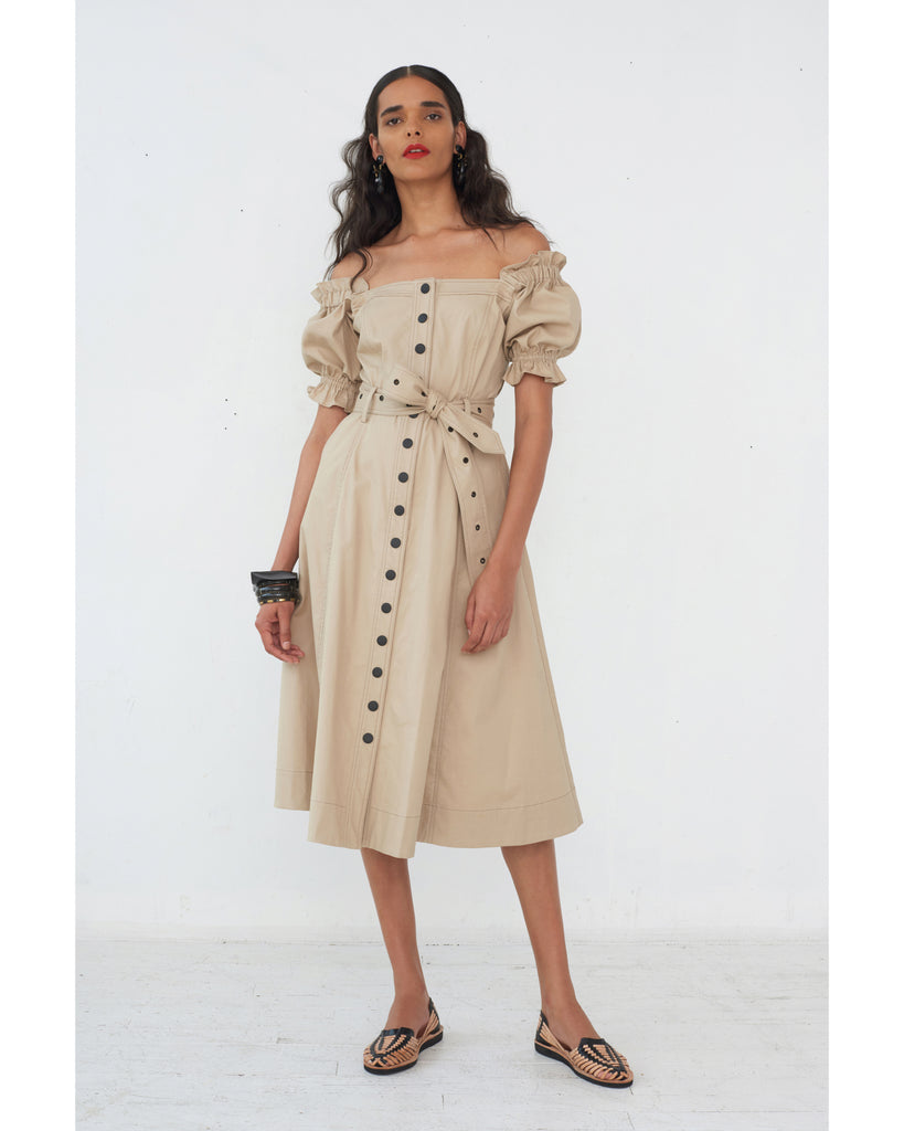 Charlize Canvas Dress in Sandshell