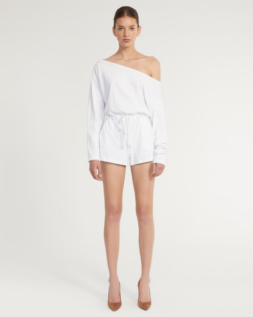Marlo Drop Shoulder Knit Romper in White