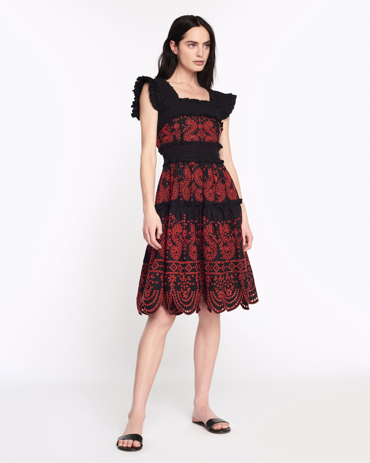 Nicola Embroidered Dress in Black Combo