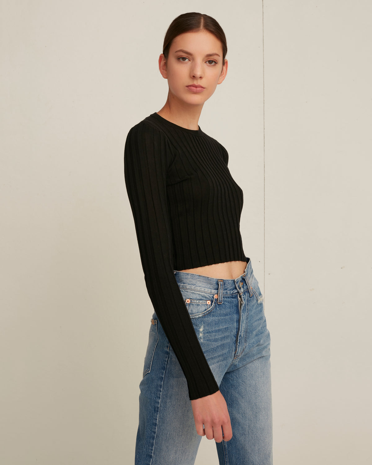 Nicolas Cropped Crewneck Rib Pullover in Black