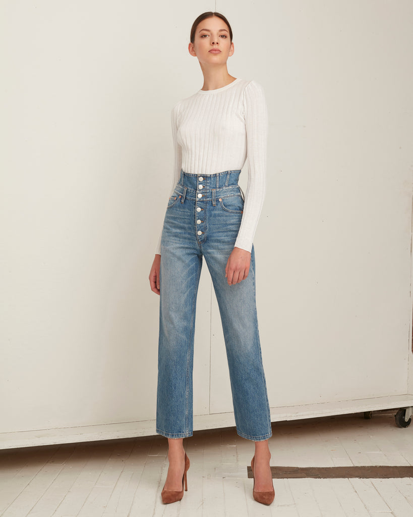 Nicolas Cropped Crewneck Rib Pullover in White